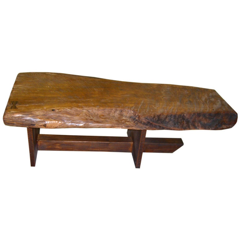 American Craftsman 1970 39 S Redwood Bench With Rosewood Dovetail At 1stdibs