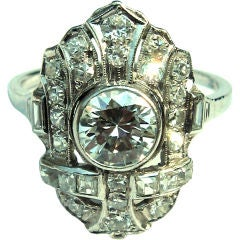 Art Deco Ladies 1920's diamond ring hand crafted platinum mount