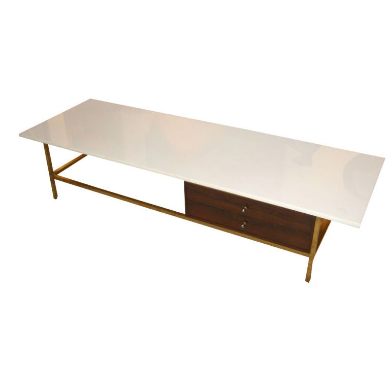 Harvey Probber Unusual Rosewood And Milk Glass Coffee Table At 1stdibs
