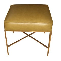 Paul Mccobb brass and leather ottoman