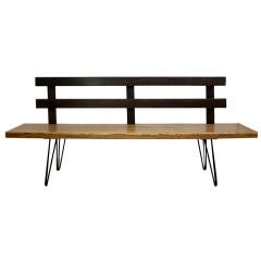 1980-90's American craftsman hand made exotic wood bench