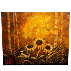 Decorative Large Painting of Sunflowers Signed Lee Reynolds