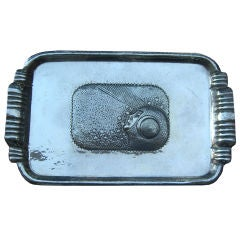 Magnificent Hand Hammered Sterling Tray Female Aviator Astronaut