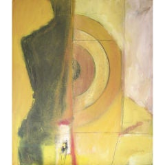 Oil on Canvas Figurative abstract w/ target by Victor Mirabelli