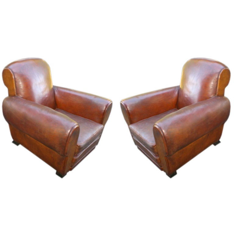 LARGE PAIR OF FRENCH LEATHER CLUB CHAIRS at 1stdibs