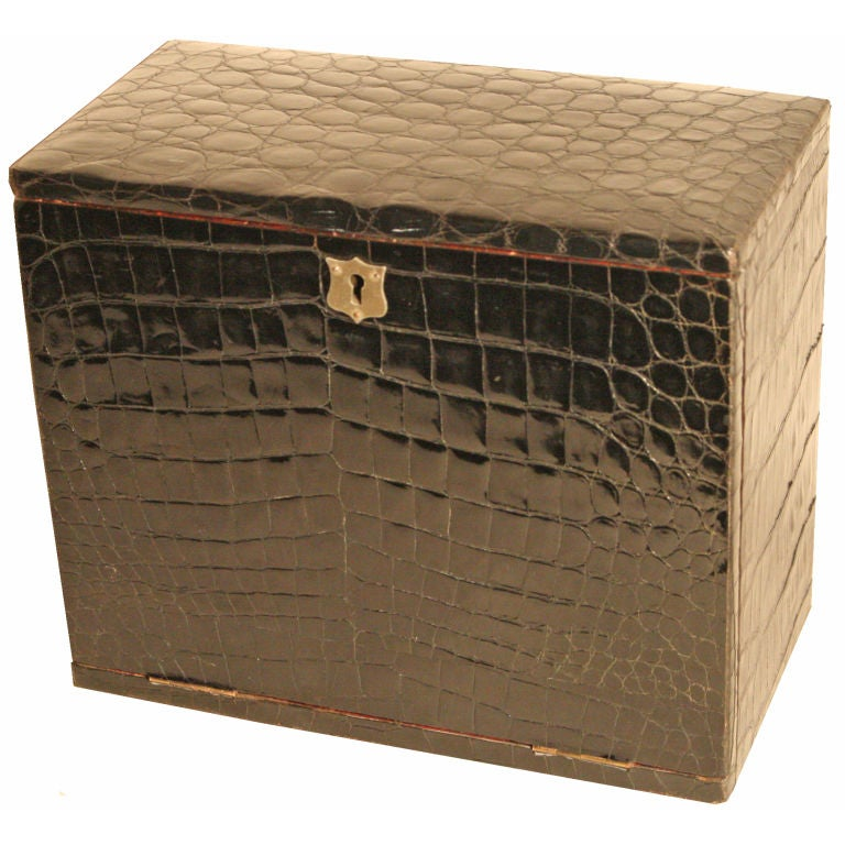 Crocodile stationery box at stdibs