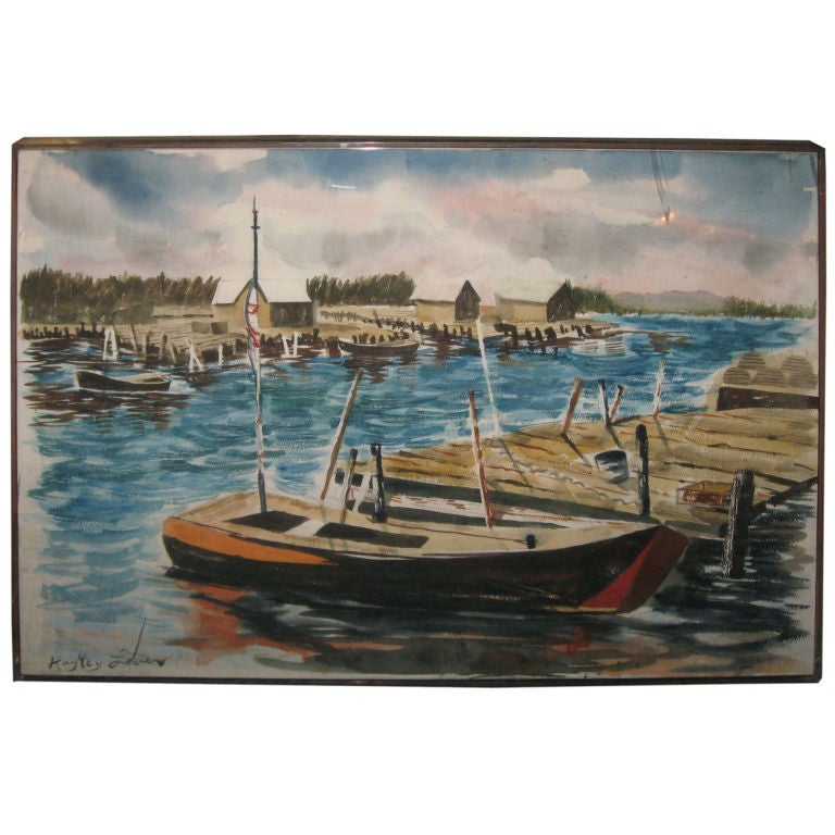 Watercolor Painting by Richard Hayley Lever-Harbor Scene