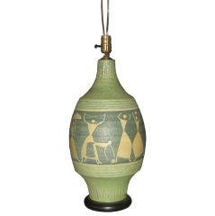 Mid-Century Italian Handmade Pottery Lamp with Figures