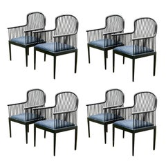 Eight Andover Ebonized Dining Chairs by Stendig