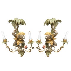 Pair of Carved  Wood  Monkey Sconces