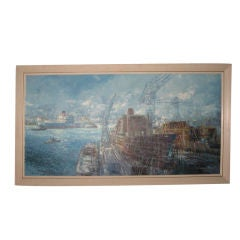 Midcentury Oil Painting of Shipyard by Victor J. Trip