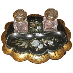 19th Century Paper Mache and Crystal Inkwell