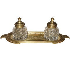 Bronze and Cryastal Double Inkwell