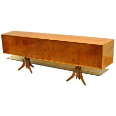 1960's Sideboard in Caviuna Wood and Glass