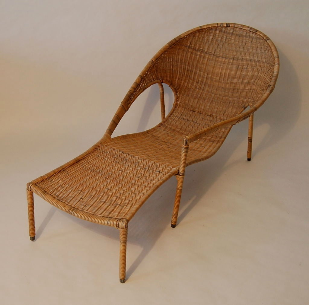 Rattan chaise lounge by francis mair at 1stdibs for Bamboo chaise lounge