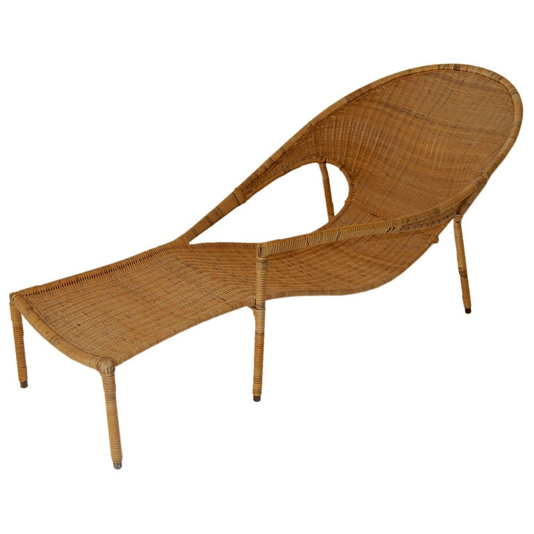 Rattan chaise lounge by francis mair at 1stdibs for Chaise longue rattan