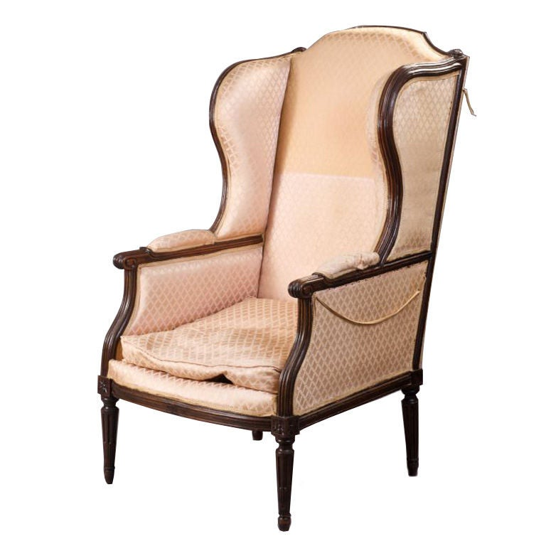 louis xvi beechwood bergere a oreilles for sale at 1stdibs. Black Bedroom Furniture Sets. Home Design Ideas