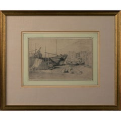 Drawing, Boat Scene by James Pyne, RA (1800-1870)