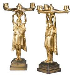 Pair of Regency Gilt Bronze Figural Candelabra