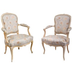 Pair of Louis XV Beige and White Painted Cabriolet Armchairs