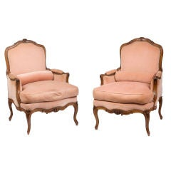 Pair of Louis XV Walnut Bergeres