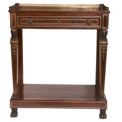Regency Brass-Inlaid Mahogany Console Table