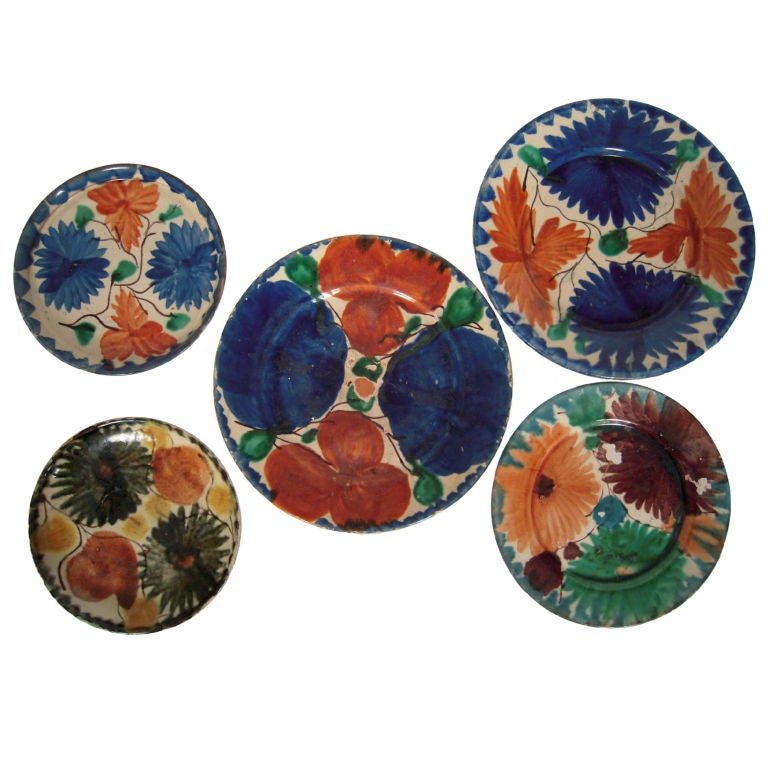 Collection Of 5 Vintage Mexican Pottery Plates From Oaxaca
