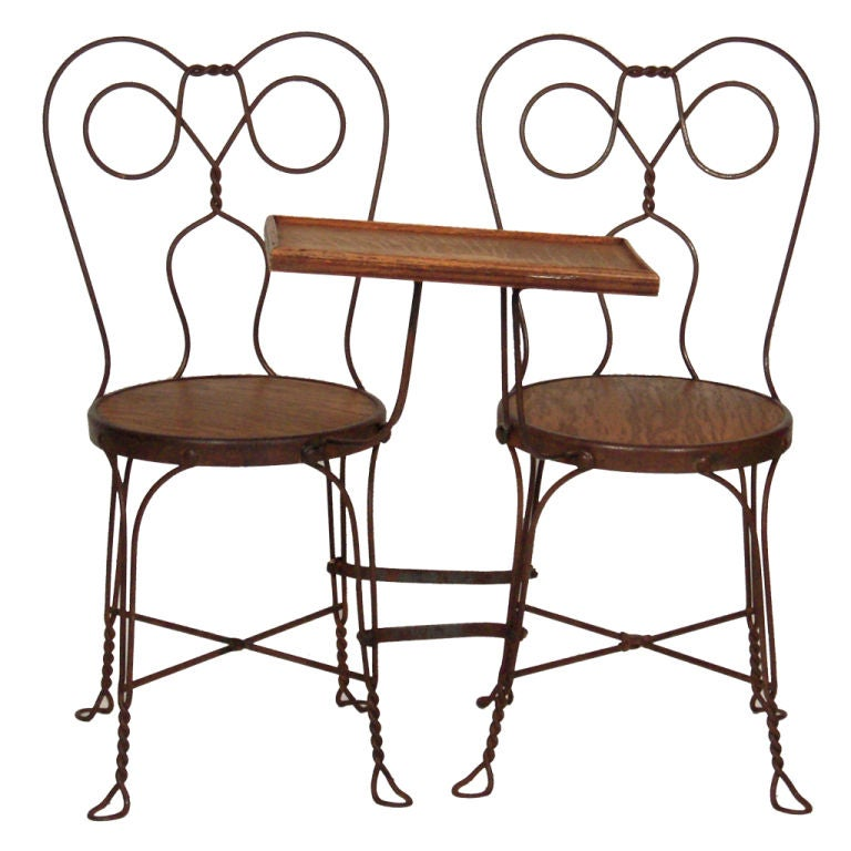 VINTAGE ICE CREAM PARLOR DOUBLE CHAIR WITH ATTACHED TABLE 1