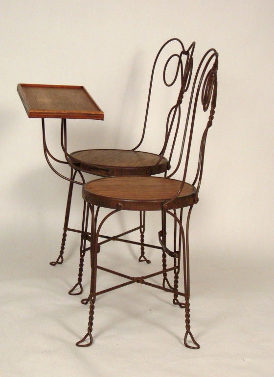 VINTAGE ICE CREAM PARLOR DOUBLE CHAIR WITH ATTACHED TABLE 4