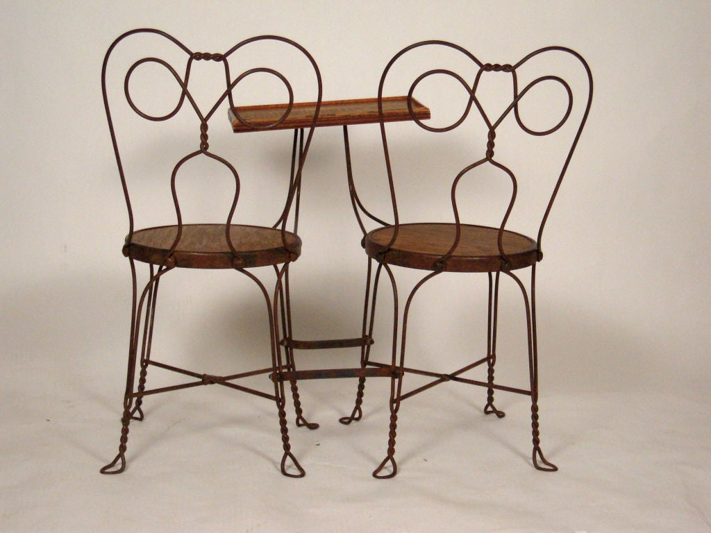 VINTAGE ICE CREAM PARLOR DOUBLE CHAIR WITH ATTACHED TABLE 3