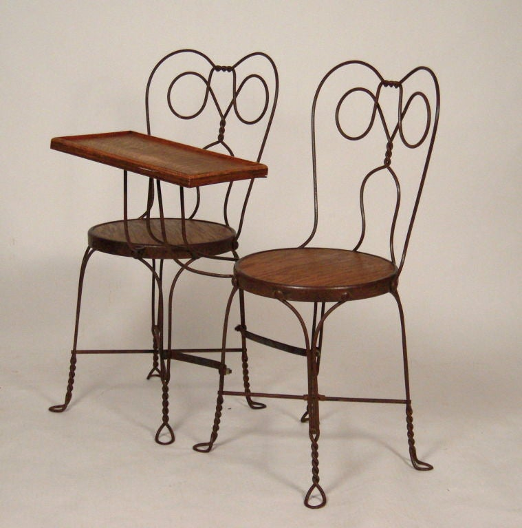 VINTAGE ICE CREAM PARLOR DOUBLE CHAIR WITH ATTACHED TABLE 5