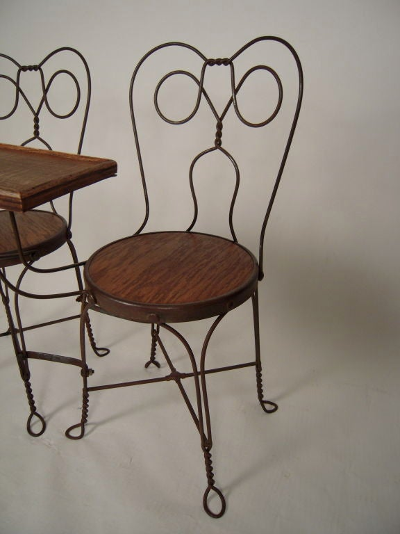 VINTAGE ICE CREAM PARLOR DOUBLE CHAIR WITH ATTACHED TABLE 7