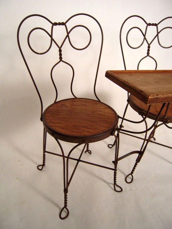 VINTAGE ICE CREAM PARLOR DOUBLE CHAIR WITH ATTACHED TABLE 8