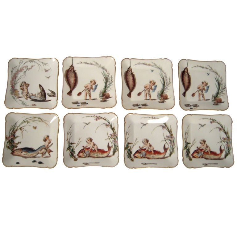 set of 8 unusual playful haviland limoges fish cuisine plates at 1stdibs. Black Bedroom Furniture Sets. Home Design Ideas