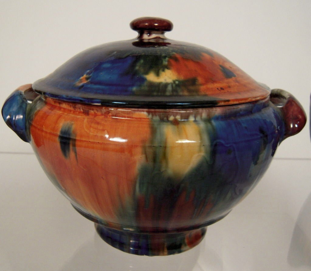 Large Vintage Mexican Pottery Pitcher And Covered Tureen