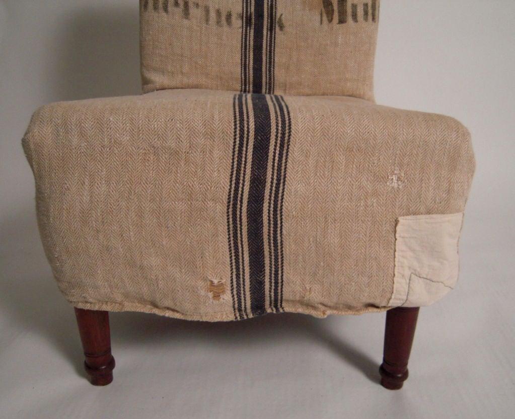 19th century slipper chair with swedish grain sack slip