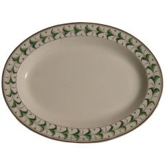 Staffordshire Oval Creamware Platter with Hand-Painted Green Decoration