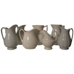 COLLECTION OF 7 19TH C WHITE IRONSTONE PITCHERS