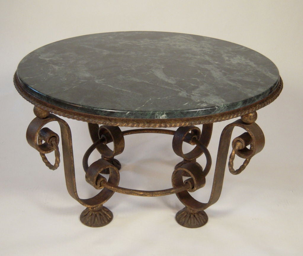 Iron Marble Top Coffee Table: 1930s FRENCH GILT IRON AND MARBLE TOP COFFEE TABLE At 1stdibs