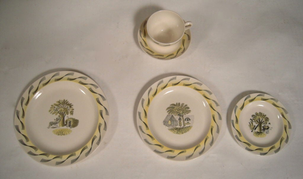 A rare service for 6 of Eric Ravilious designed porcelain for Wedgwood in the Garden Series pattern, comprising 6 dinner plates,  salad plates, 6 bread plates, 6 cups and saucers, all in mint condition.<br /> Biographical Information on Eric