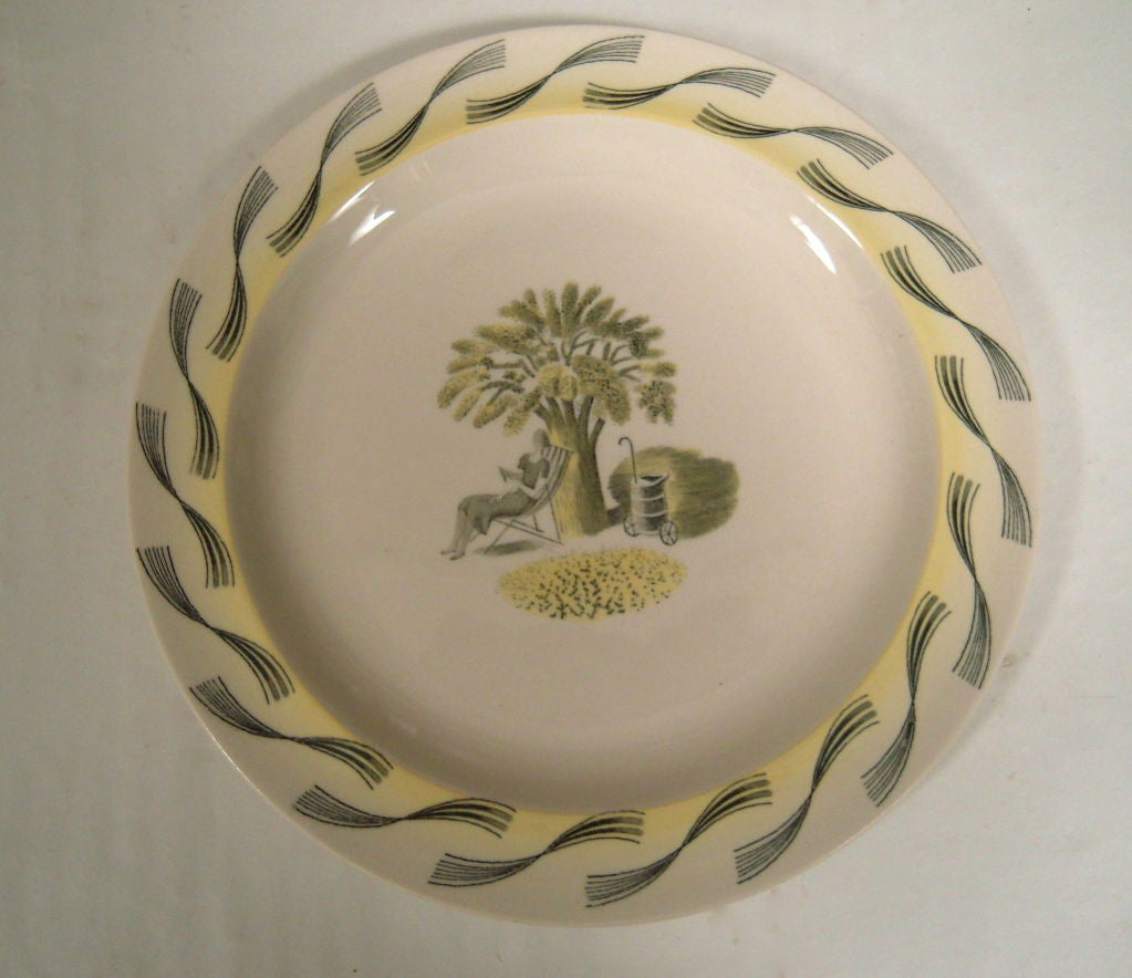 English RARE ERIC RAVILIOUS FOR WEDGWOOD GARDEN SERIES SERVICE FOR 6 For Sale