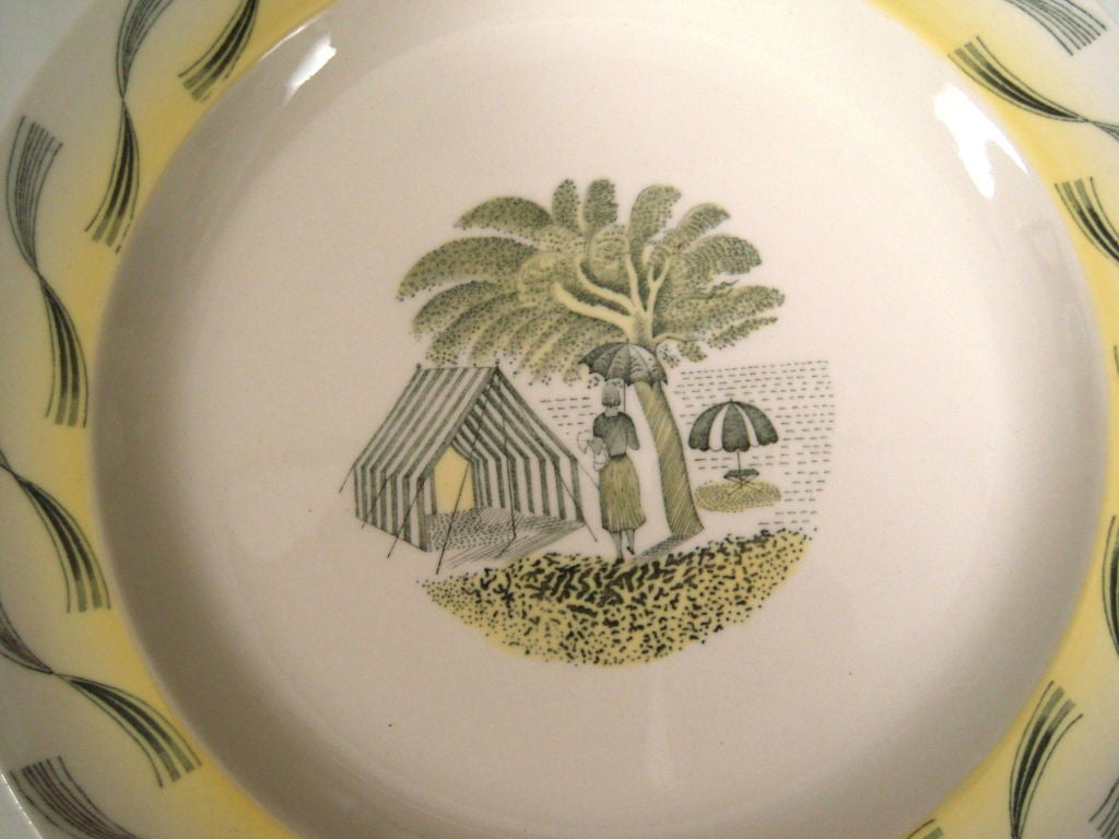 RARE ERIC RAVILIOUS FOR WEDGWOOD GARDEN SERIES SERVICE FOR 6 In Excellent Condition For Sale In Essex, MA