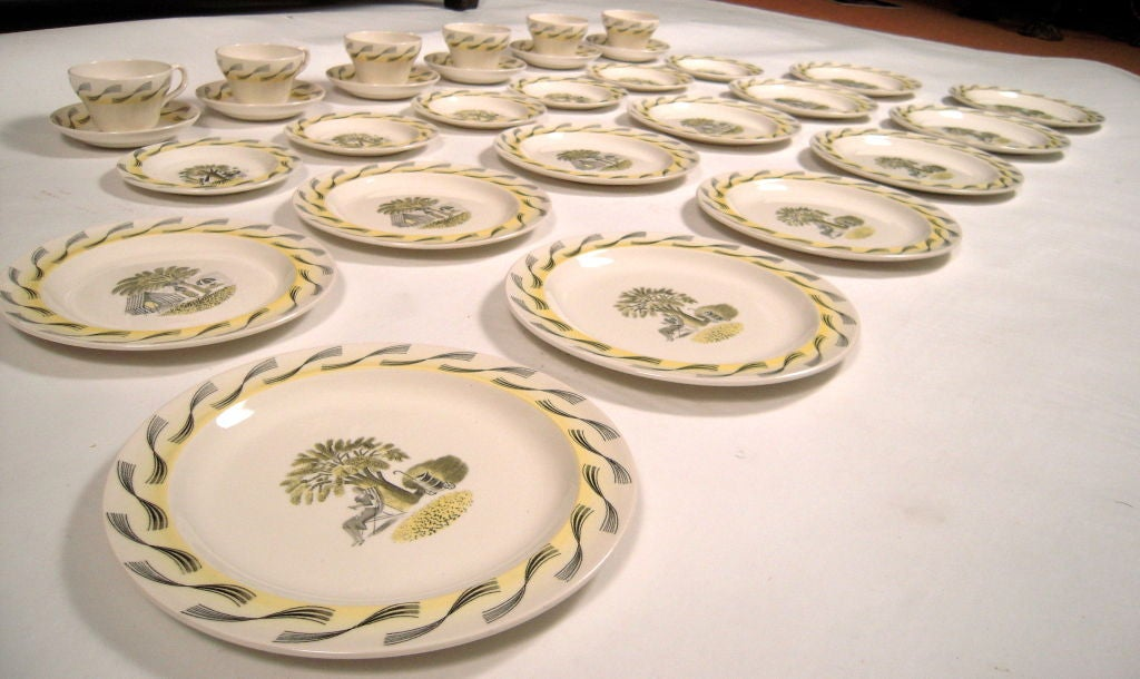RARE ERIC RAVILIOUS FOR WEDGWOOD GARDEN SERIES SERVICE FOR 6 For Sale 3