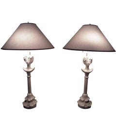 PAIR OF TETE-DE-FEMME PLASTER LAMPS, AFTER GIACOMETTI