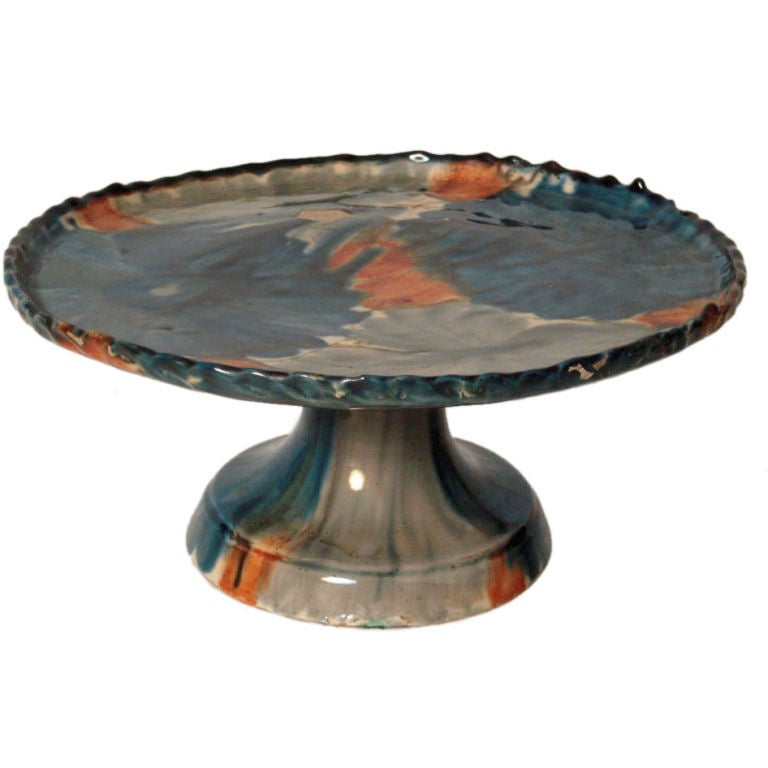 Vintage Mexican Pottery Cake Stand From Oaxaca At 1stdibs
