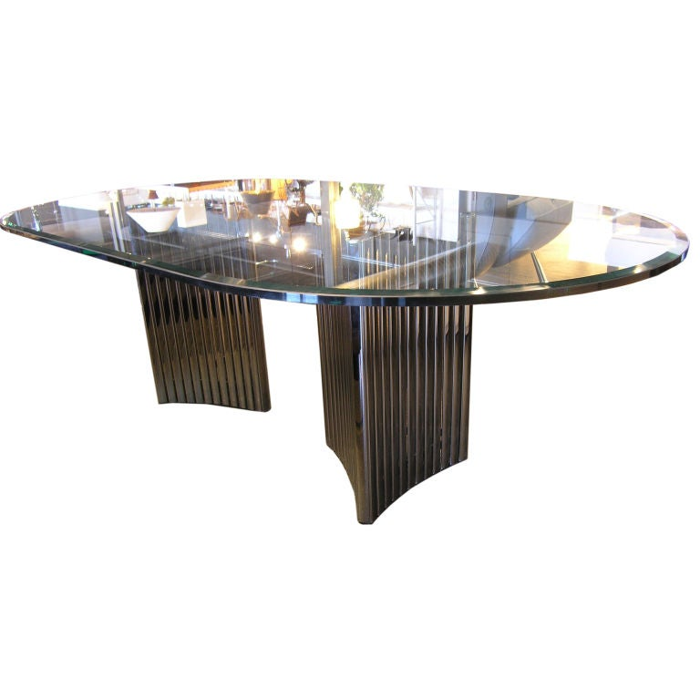 this double chrome pedestal dining table is no longer available