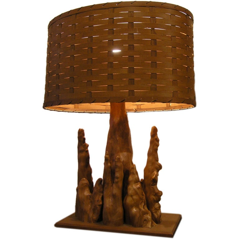 Unique Vintage Cypress Knee Driftwood Lamp W Basket Weave