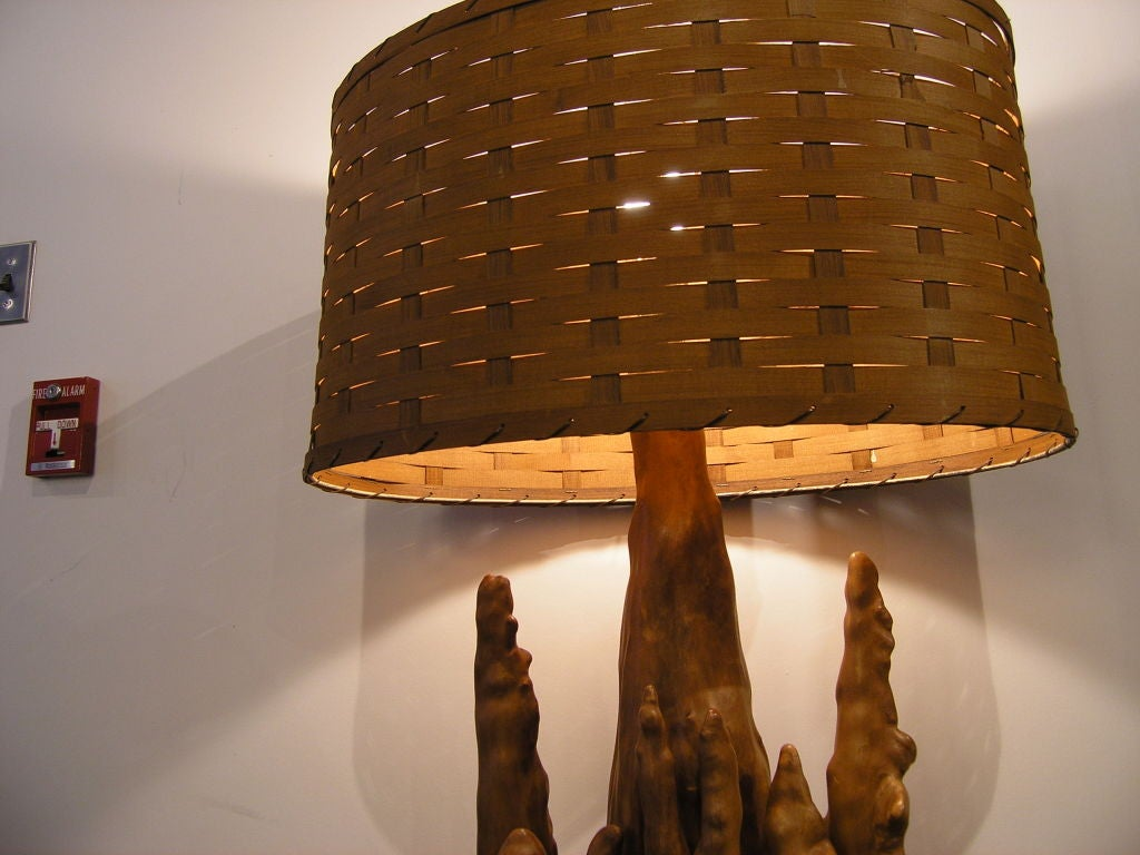 Driftwood Lighting Unique Vintage Cypress Knee Driftwood Lamp W Basket Weave Shade At
