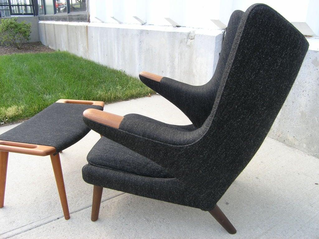 Teak All Original Papa Bear Chair and Ottoman by Hans Wegner