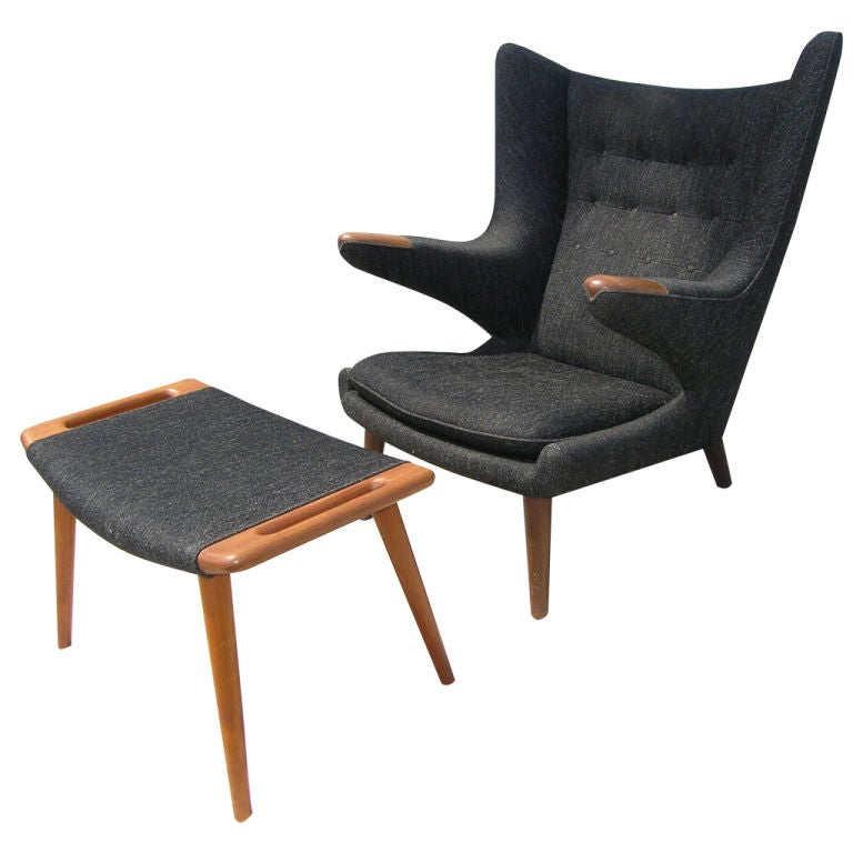 All Original Papa Bear Chair And Ottoman By Hans Wegner At